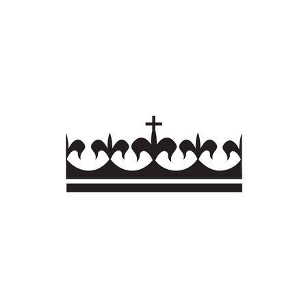 Silhouette of a black royal crown, luxury icon. Isolated flat crown vector illustration.