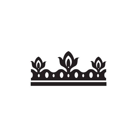 Black ornate crown silhouette isolated on white background - flat icon of royal emblem with flower symbolism. Elegant medieval headwear insignia - vector illustration. Foto de archivo - 130222084