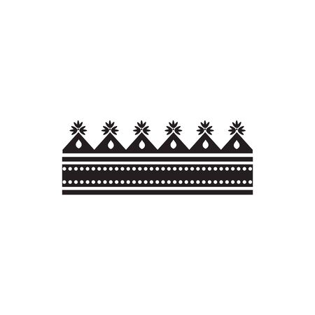 Black paper crown silhouette with rectangle base and triangle decorations - flat isolated geometric icon of royal headdress decoration - vector illustration. Foto de archivo - 130222079