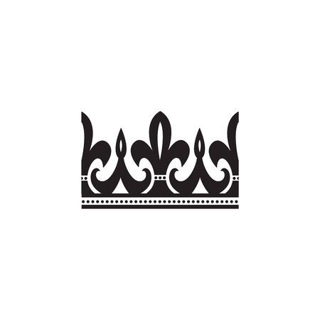 Ornate black crown icon with curvy arched lines - flat silhouette of royal heraldic sign isolated on white background. Simple imperial design - vector illustration. Foto de archivo - 130222077