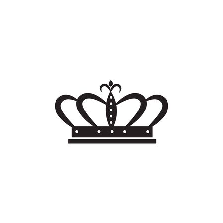 Black traditional crown for king or queen. Silhouette of a royal icon or sign. Isolated flat crown vector illustration. Illustration
