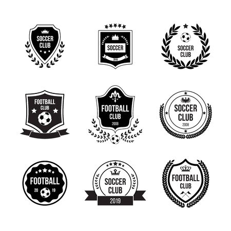 Set of football and soccer badges with shields and balls for competitions, clubs and teams. Black badges, signs and icons in circles and shields for football. Isolated flat vector illustration.