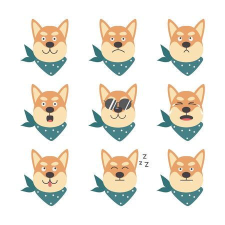 Cartoon character shiba inu cute cool dog with various emotions in sunglasses and bandana, flat vector illustration isolated on white background. Funny pet animal.