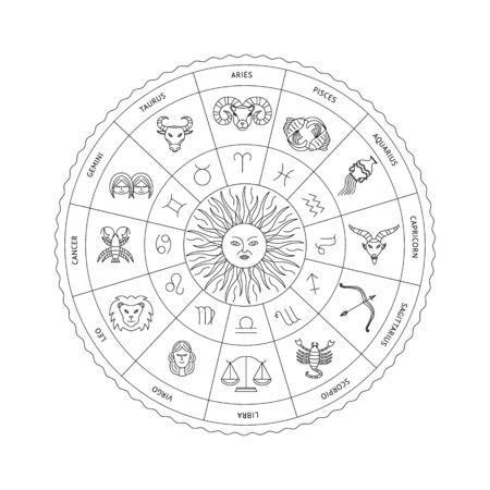 Black and white horoscope circle with zodiac signs symbols vector illustration in sketch style isolated on white background. Astrological constellations by month of birth. Illustration
