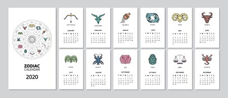 2020 monthly Zodiac calendar with star sign page for every month - flat set of astronomy horoscope themed set of pages with drawings. Isolated vector illustration.