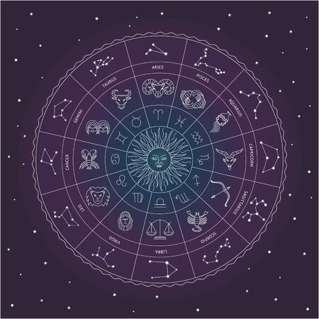 Zodiac circle with star sign drawings and constellations around the Sun in round wheel shape on a starry night sky - astrology and horoscope chart, vector illustration.