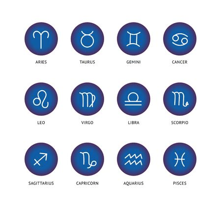 Set and collection of zodiac signs in blue circles. Zodiac signs and icons for astrology and horoscopes, isolated flat vector illustration. Libra and scorpion, Aquarius and Capricorn, twins and lion. Illustration