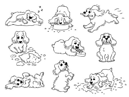 Dog behavior - black and white drawing set of cute pet sleeping, running, eating, playing and doing mischief. Hand drawn cartoon animal vector illustration