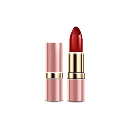Pink tube of red lipstick with realistic gold texture - isolated mockup of glossy luxury makeup product packaging on white background, vector illustration