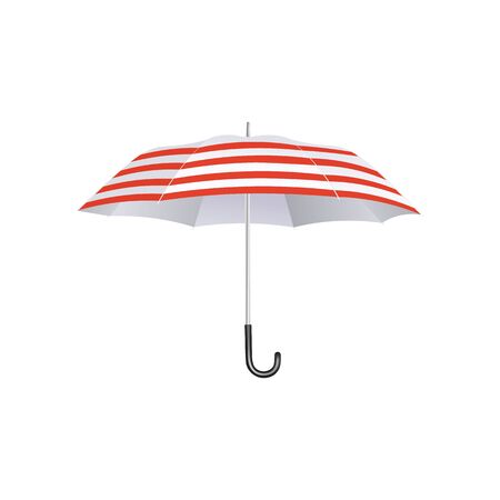 Summer beach umbrella with red and white stripes isolated on white background - retro fashion style weather accessory with curved handle, realistic vector illustration. 向量圖像