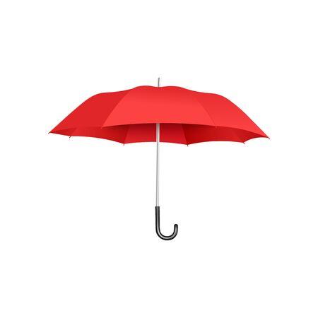Klasyczny otwarty czerwony parasol pływający na białym tle na białym tle, realistyczne i kolorowe akcesoria do ochrony przed deszczem z zakrzywionym uchwytem - ilustracja wektorowa.
