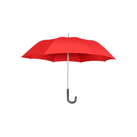 Classic open red umbrella floating isolated on white background, realistic and colorful rain protection accessory with curved handle - vector illustration.