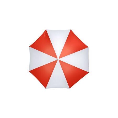 Paraguas protector de sol o lluvia con cuñas rojas y blancas Ilustración de vector realista 3d aislado sobre fondo blanco. Playa de mar o equipo de clima lluvioso de otoño.