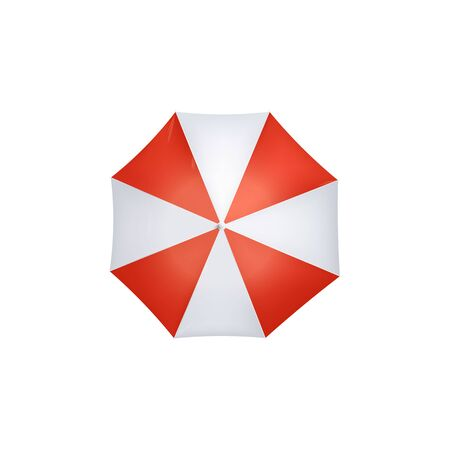 Sun or rain protective umbrella with red and white wedges 3d realistic vector illustration isolated on white background. Sea beach or rainy autumn weather equipment.