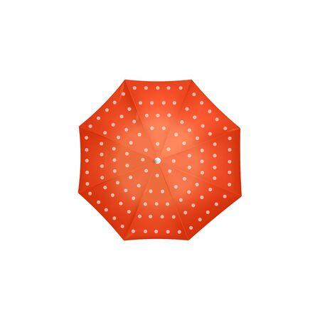 Vue de dessus du parapluie rouge à pois blancs - accessoire météo de style vintage coloré isolé sur fond blanc. Parasol rétro vu d'en haut - illustration vectorielle.