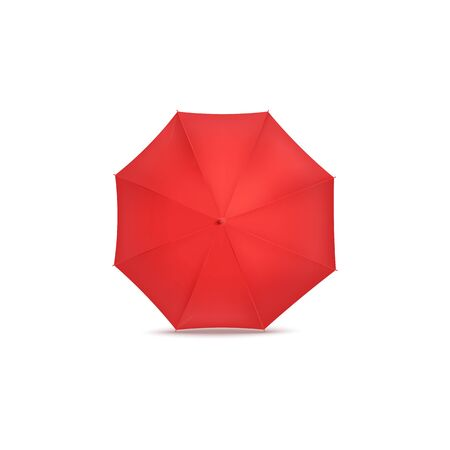Red open umbrella or parasol for protection from the rain, top view. Realistic isolated vector illustration. Ilustrace