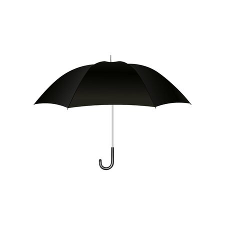 Black open umbrella with handle for protection from the rain and in bad weather, realistic isolated vector illustration. Illustration