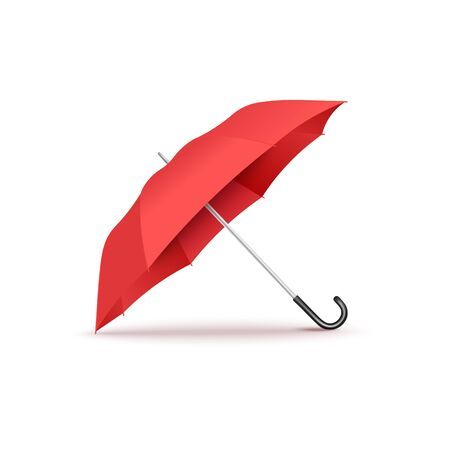 Realistic red open umbrella with curved black handle lying on its side - isolated vector illustration on white background, seasonal weather accessory.