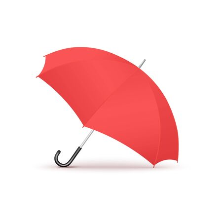 Colorful red realistic open umbrella isolated on white background - modern seasonal weather accessory with black curved handle - vector illustration.