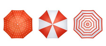 Red and white realistic umbrella set from top view - dotted, striped and cross colored weather accessory collection, isolated vector illustration on white background Foto de archivo - 130222997