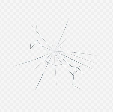 Broken glass texture isolated on white transparent background - realistic effect of clear surface crack from crash or accident. Vector illustration.
