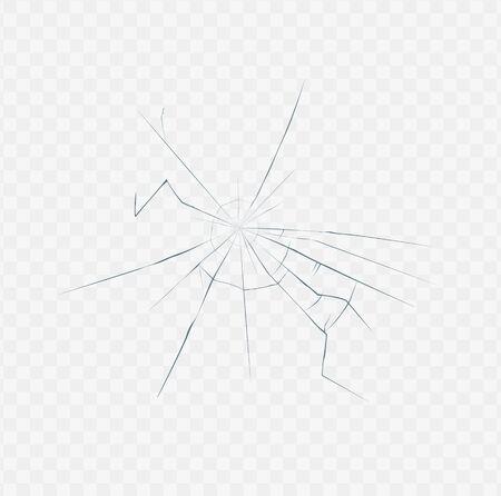Struttura di vetro rotto isolata su sfondo bianco trasparente - effetto realistico di una chiara crepa superficiale da incidente o incidente. Illustrazione vettoriale.