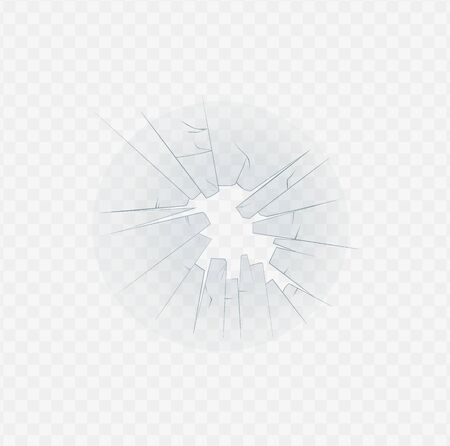 Broken glass cracked texture and through hole edge 3d realistic vector illustration isolated on transparent background. Accidentally crushed houses or cars windshield. Stock fotó - 130223037