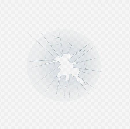 Textura agrietada de vidrio roto y ilustración de vector realista 3d de borde de agujero pasante aislado sobre fondo transparente. Parabrisas de casas o automóviles aplastados accidentalmente. Ilustración de vector