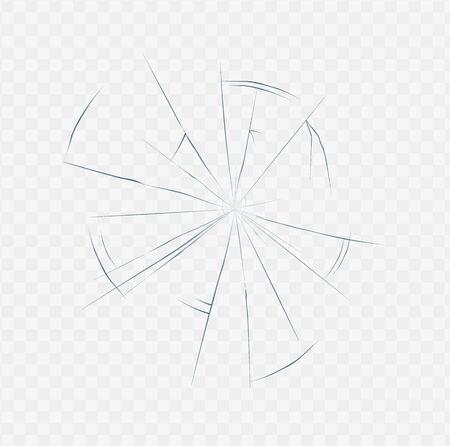 Textura de vidrio agrietado realista aislado sobre fondo blanco transparente. Efecto de grieta de superficie rota en forma de tela de araña, ilustración de vector de luz diurna. Ilustración de vector
