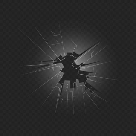 Ilustración de vector realista de foto 3d de vidrio de ventanas estrelladas sobre fondo transparente oscuro. Efecto de textura agrietada de vidrio roto y agujero pasante con borde afilado. Ilustración de vector