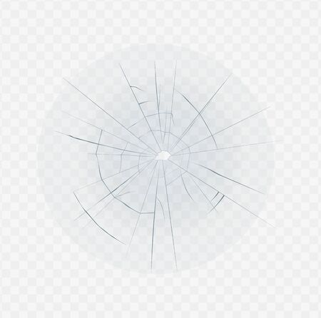 Isolated broken glass with hole crack and spider web shape. Realistic crashed window effect on transparent white background - glass shatter vector illustration.  イラスト・ベクター素材