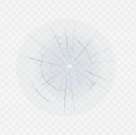 Vetro rotto isolato con fessura del foro e forma di ragnatela. Effetto finestra schiantato realistico su sfondo bianco trasparente - illustrazione vettoriale in frantumi di vetro. Vettoriali