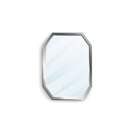 Realistic mirror with silver hexagon frame isolated on white background. Classic interior decoration object with reflective glossy glass texture - vector illustration.