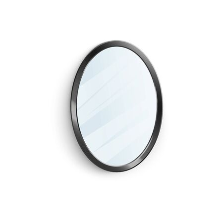 Realistic mirror in black oval frame with blurry reflection 3d vector illustration isolated on white background. House and apartments interior decor furniture element.