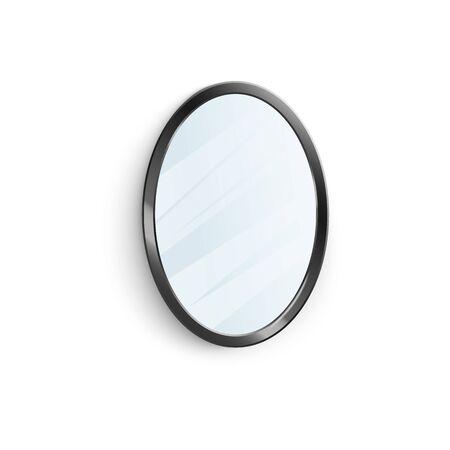 Specchio realistico in cornice ovale nera con riflesso sfocato illustrazione vettoriale 3d isolato su sfondo bianco. Elemento di arredo per interni di case e appartamenti.