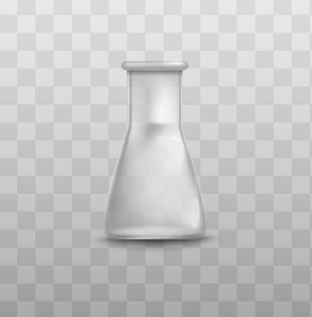 Short glass beaker flask with triangle shape and empty inside - vector illustration isolated on transparent background. Realistic 3D lab equipment bottle.
