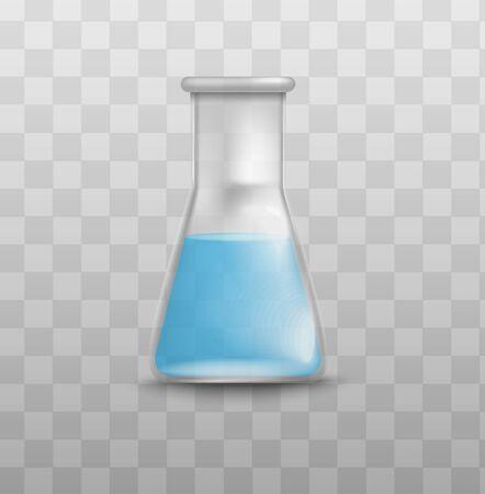 Bécher en verre de laboratoire de chimie avec liquide bleu isolé sur fond transparent, flacon d'expérience scientifique réaliste tenant un liquide chimique - illustration vectorielle. Vecteurs