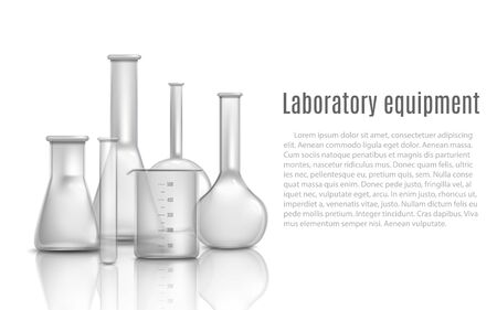 Laboratory glass equipment items with flasks and beakers 3d realistic vector illustration. Chemical laboratory containers with copy space for text banner template.