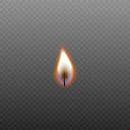 Feu de bougie dans une mèche brûlante isolée sur fond transparent foncé, petite flamme orange réaliste à la lueur des bougies - illustration vectorielle d'élément de décoration.