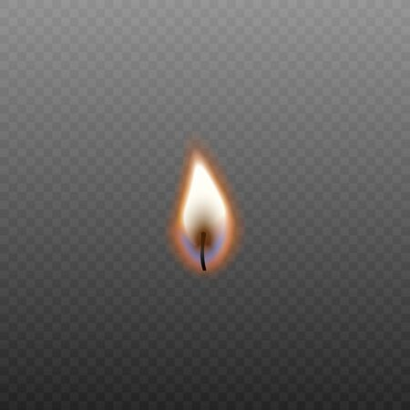 Candle fire in burning wick isolated on dark transparent background, small realistic orange flame from candlelight - decoration element vector illustration.