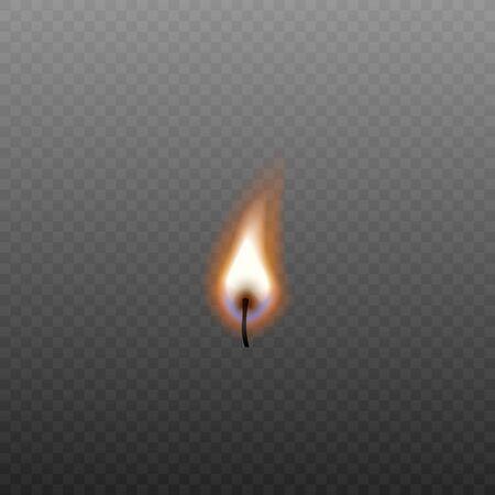 Feu de bougie isolé sur mèche noire sans source sur fond transparent - illustration vectorielle réaliste d'une petite flamme avec une nuance bleue Vecteurs
