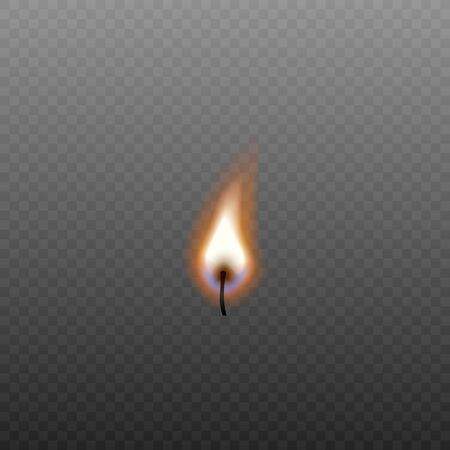 Isolated candle fire on black wick without source on transparent background - realistic vector illustration of small flame with blue undertone Çizim