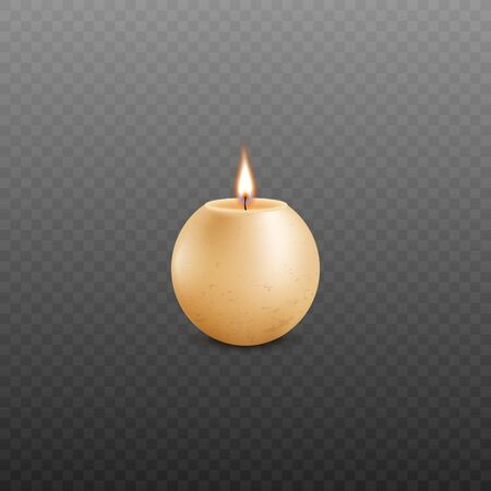 Realistic sphere shaped burning candle made of yellow wax isolated on dark transparent background - light ball shape interior decor object. Vector illustration. Ilustração