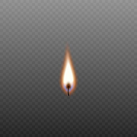 Burning candle wick isolated on transparent background - colorful orange flame of candlelight with realistic fire texture and blue flare - vector illustration  イラスト・ベクター素材