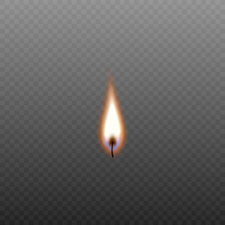 Mèche de bougie allumée isolée sur fond transparent - flamme orange colorée de chandelle avec texture de feu réaliste et flare bleu - illustration vectorielle