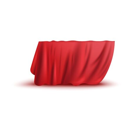 Covering drape, red curtain or cloth 3d photo realistic vector illustration isolated on white background. Fabric hiding some object, secret gift before presentation.