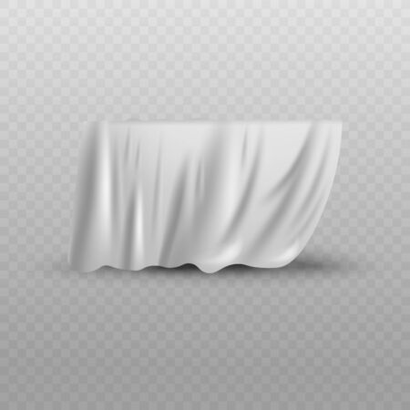 Covering drape, white curtain or cloth 3d photo realistic vector illustration isolated on transparent background. Fabric hiding something before presentation. Illustration