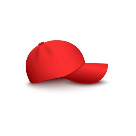 Baseball or vendor, company uniform red blank cap side view 3d realistic vector mockup illustration isolated on white background. Hat for sport or brand clothing design.