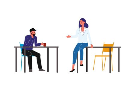 Coffee break - cartoon people in business clothes having casual conversation in office white having a drink, friends chatting during lunch - isolated flat vector illustration