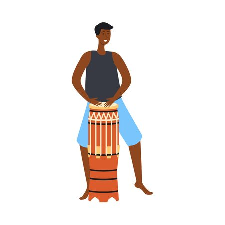 Black man playing ethnic drum and dancing - flat cartoon character with dark skin smiling and beating percussion musical instrument, isolated vector illustration